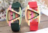 Unique Colorful Wood Watch Creative Shape Dial Hour Clock Quartz Leather in 4 FUN COLORS