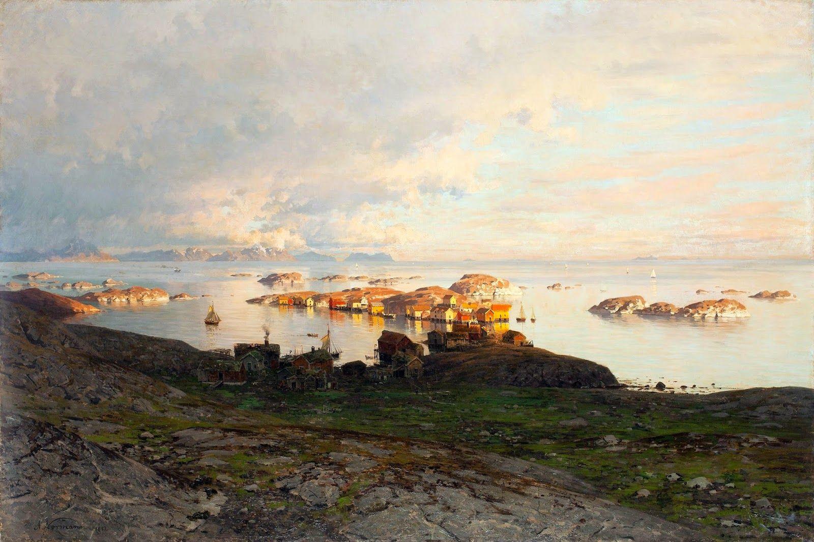 Adelsteen Normann - private collection. Sommernatt i Lofoten Summer night in Lofoten (1882)  #19th #AdelsteenNormann #Classic #Painting #Scene