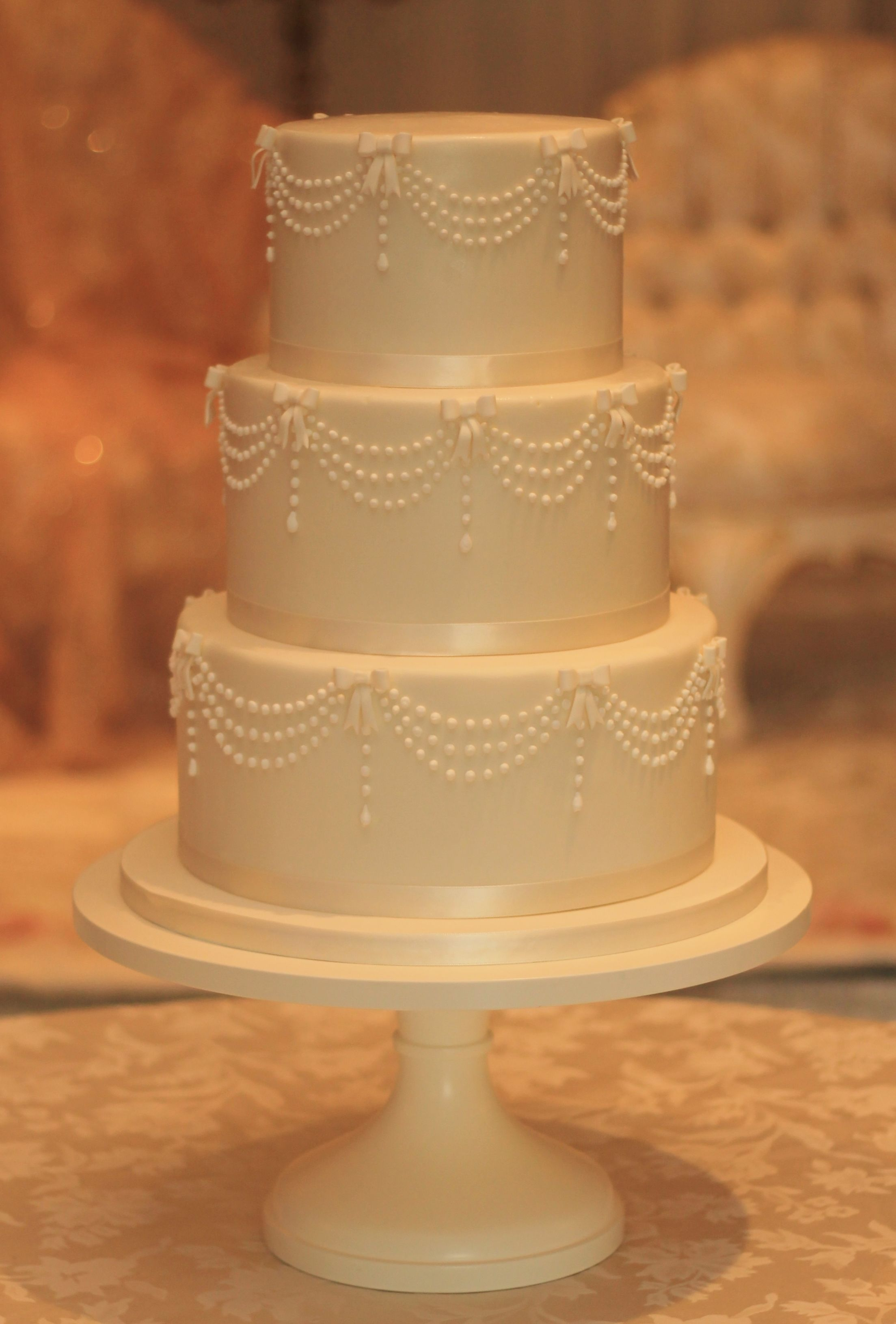 Beautiful Wedding For A Cute Couple Little Three Tier Fondant Covered Cake With Royal