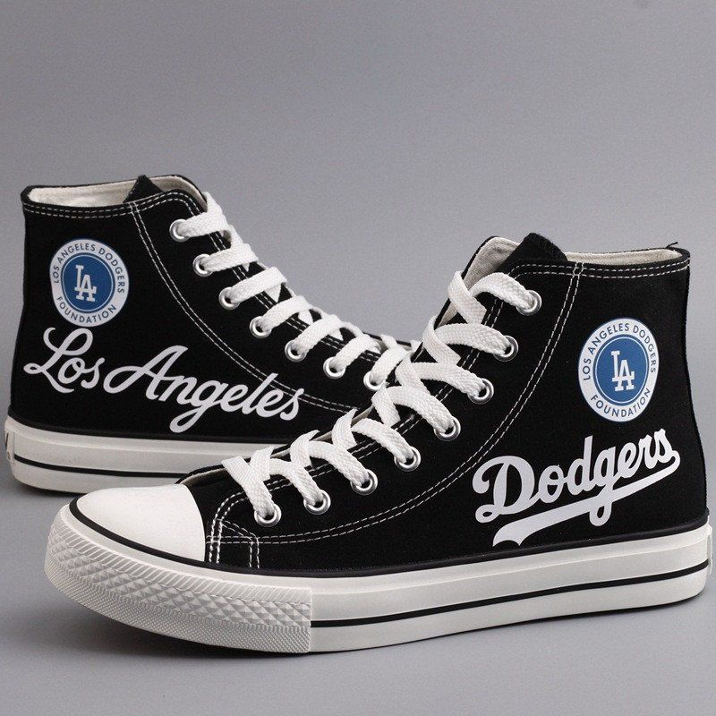 1316a333e38938 Unisex MLB Los Angeles Dodgers Team Logo Print Plimsolls High Top Woman  Hiphop Skateboard Gym Canvas Casual Sneakers