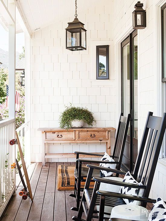 BHG Traditional Front Porch With Matching Black Rocking Chairs