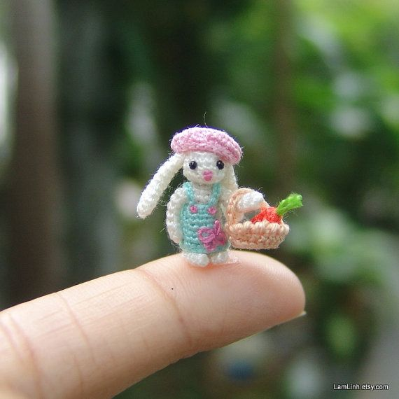 Miniature crochet 0.6 inch micro stuffed bunny - art dollhouse ...