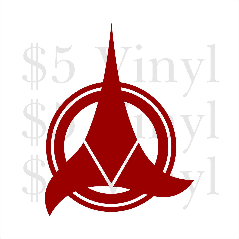 Klingon Emblem Star Trek Vinyl Federation Voyager Enterprise Sticker Ds9 Next Generation Wall Art Car Decal Sticker Window Decal [ 1500 x 1500 Pixel ]