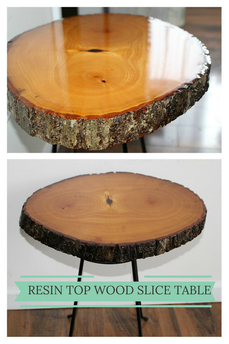 Diy Resin Wood Slice Table Our Crafty Mom Wood Table Diy Wood Slice Crafts Wood Slice Decor