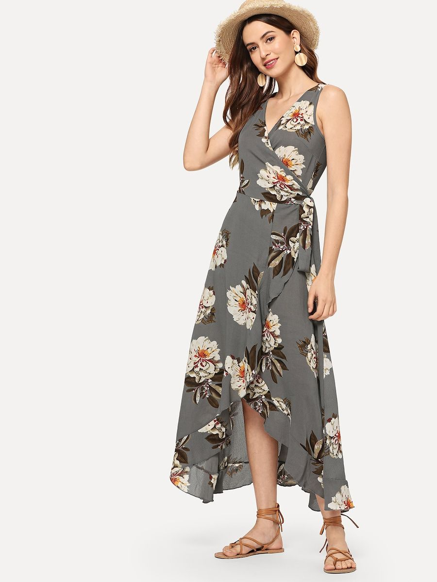 aa279b2ae9f11 Surplice Neck Floral Ruffle Hem Dress | fashionably yours | Dresses ...