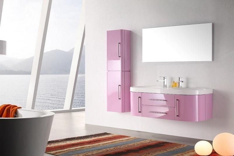 meuble salle de bain rose