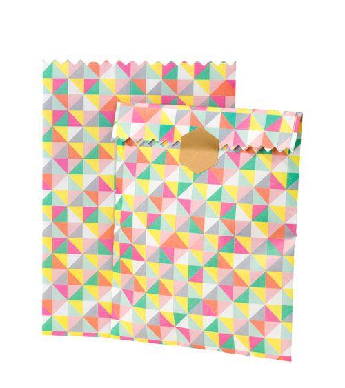 Papiertüten mit Sticker - bunt - 10 Stück | Gebäckverpackungen ... | {Backzubehör 44}