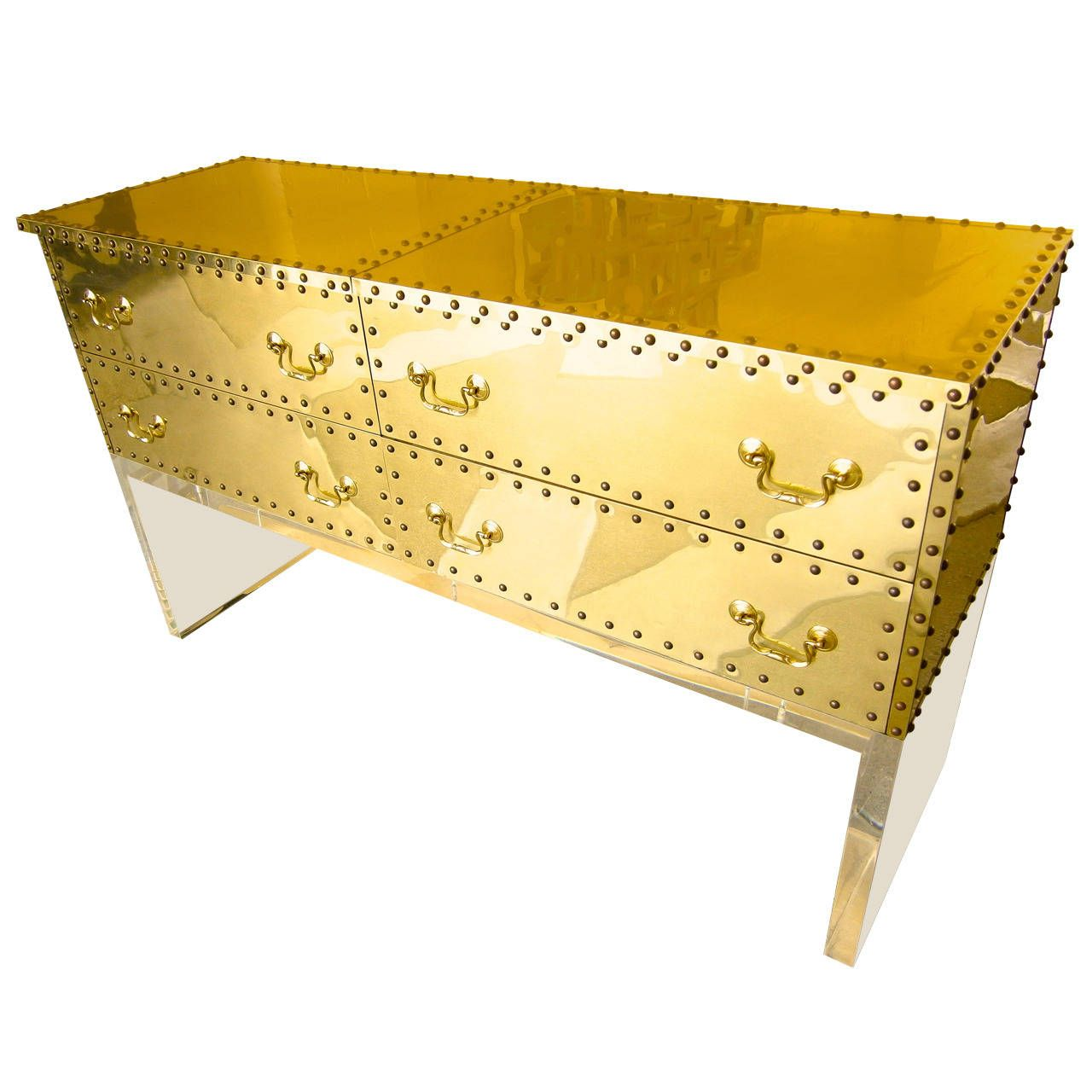 Brass-Clad Long Chest on Lucite Base  Attributed to Sarried  C 1980s   From a unique collection of antique and modern commodes and chests of drawers at https://www.1stdibs.com/furniture/storage-case-pieces/commodes-chests-of-drawers/