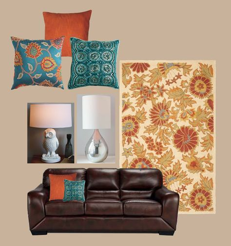 Little virtual redo house ideas i like brown couch - Brown and aqua living room pictures ...