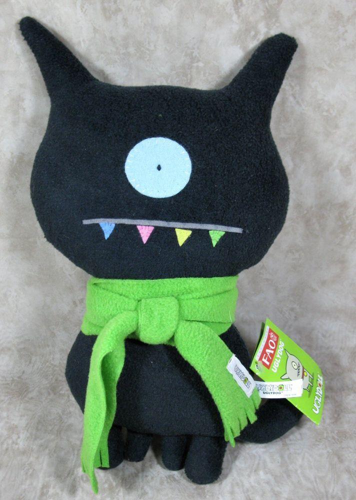 FAO Uglydoll Uglydog Black w/Green Scarf Plush Stuffed Toy w/Tags 2004 #Uglydoll