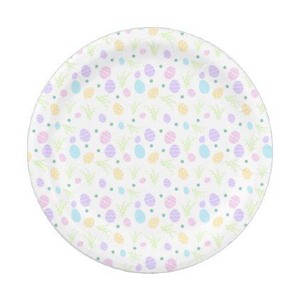 Easter Paper Plates With Pastel Easter Eggs   Home Gifts Ideas Decor Special  Unique Custom Individual