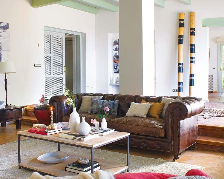 micasa brown leather sofa marron piel 750 600 sal n comedor con columna. Black Bedroom Furniture Sets. Home Design Ideas