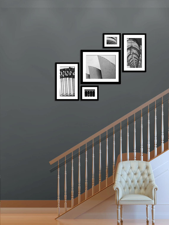 Set Of 5 Black And White Sydney Australia Architecture Art Etsy Columns Decor Modern Wall Staircase Decor