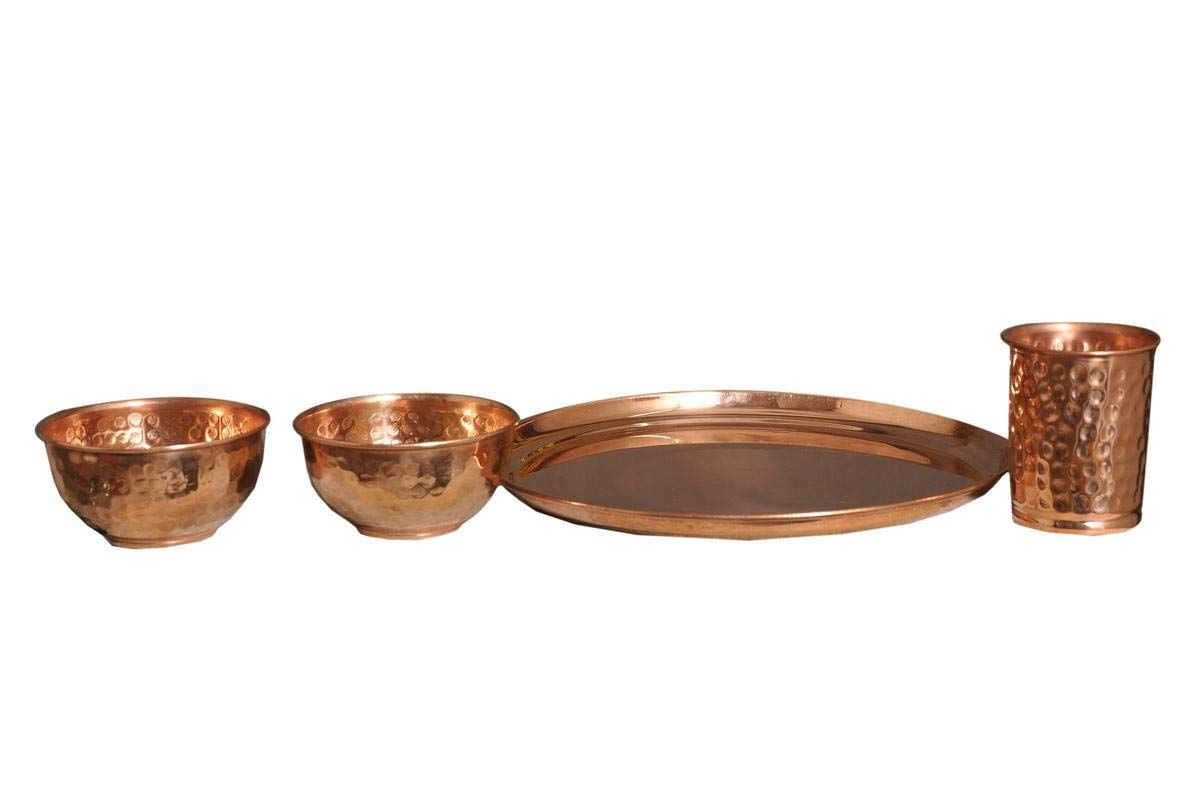 Nutristar Handcrafted Hammered Pure Copper Plate Glass And Bowls Dinner Set Of 4 Pices Copper Ware Pure Copper Copper Plated