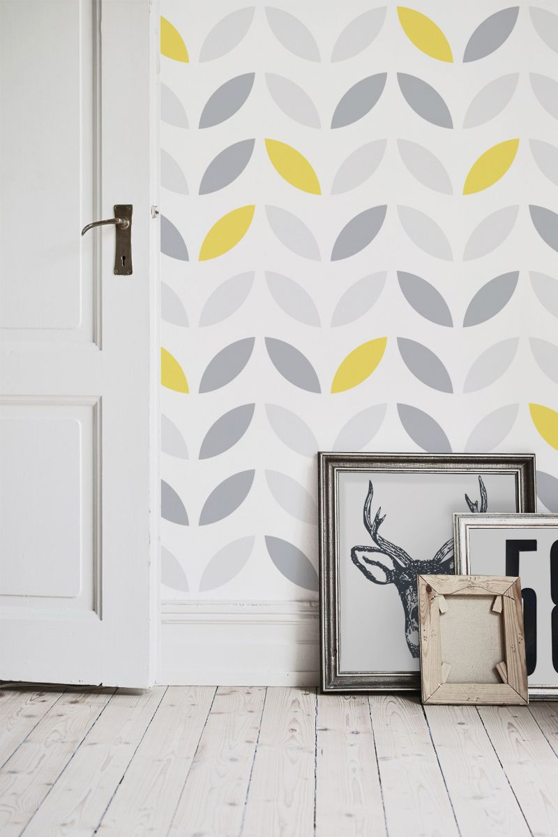 Yellow and grey abstract flower pattern wallpaper yellow for Yellow and gray design