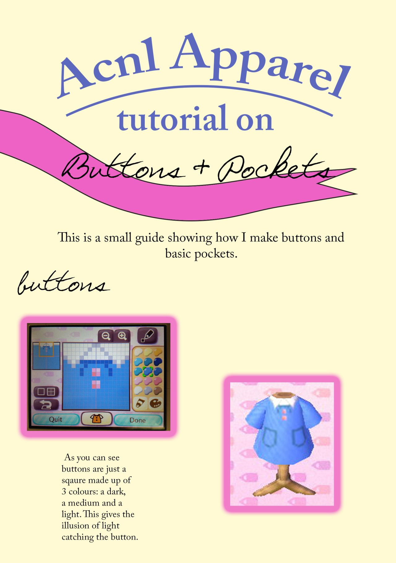 Buttons And Pockets Tutorial With Images Animal Crossing Hair