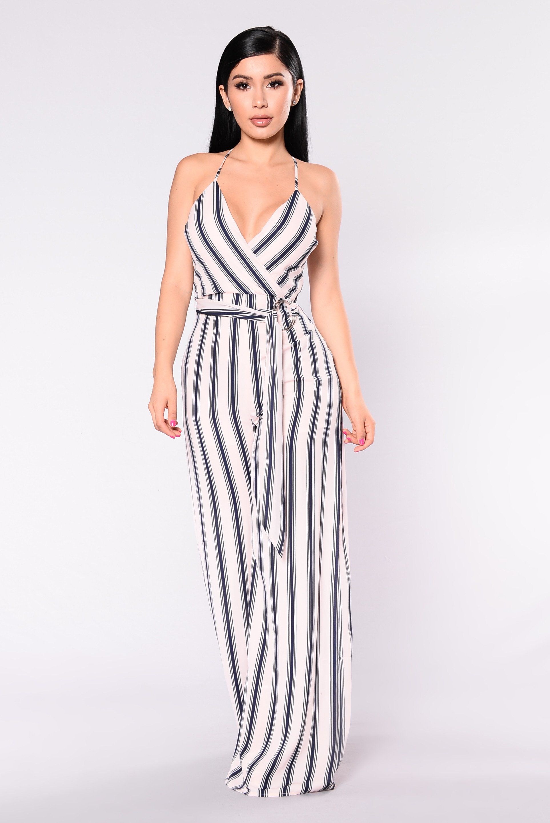 37ee9a8a6e Available In Navy Mauve Striped Jumpsuit Wide Leg O Ring Belt Self Belt  Adjustable Straps Self  100% Polyester Lining  100% Polyester