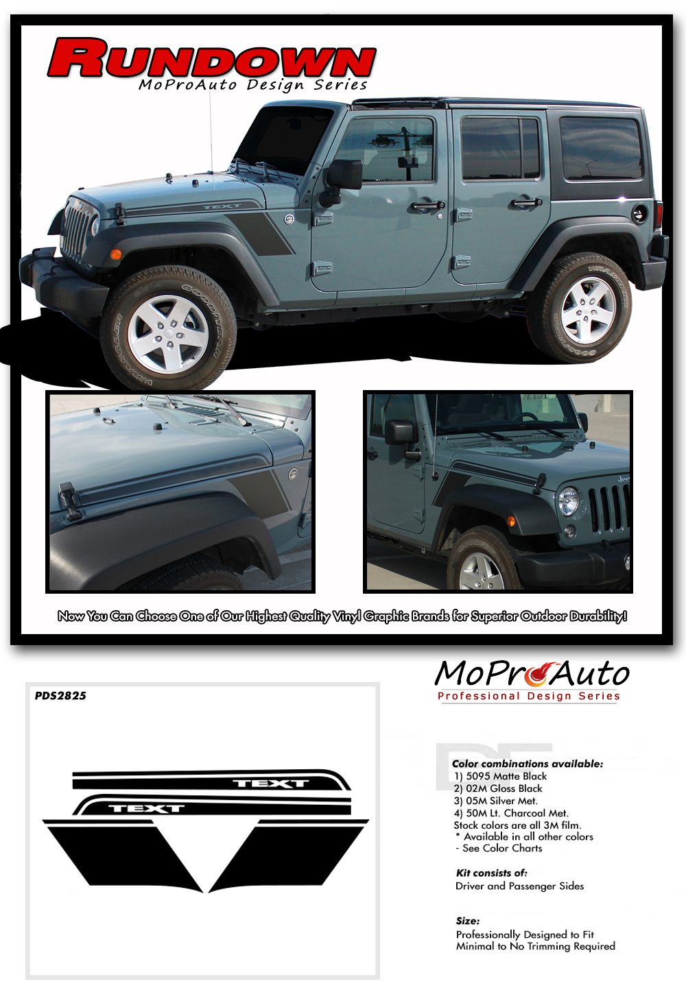 Rundown Jeep Wrangler Hood To Fender Vinyl Graphics Decal Stripe Kit For 2007 2008 2009 2010 2011 2012 2013 2014 2015 2016 2017 Models Jeep Wrangler Jeep Vinyl Graphics
