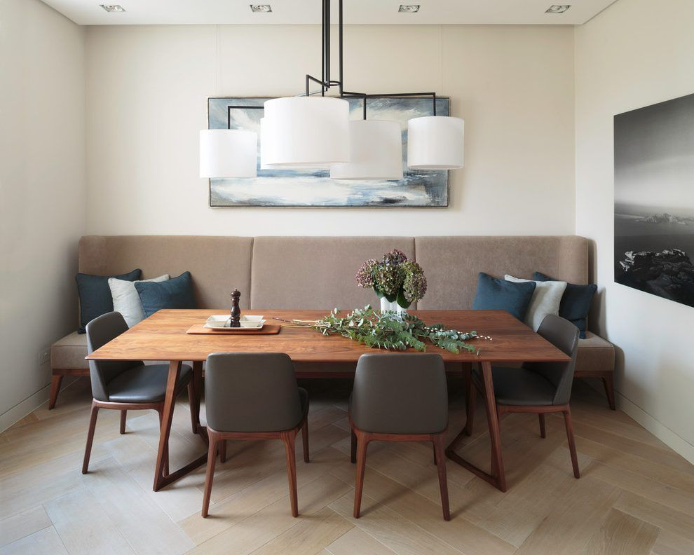 Banquette Dining Seating Room Contemporary With Modern Table Herringbone Wood Floor Recessed Lighting