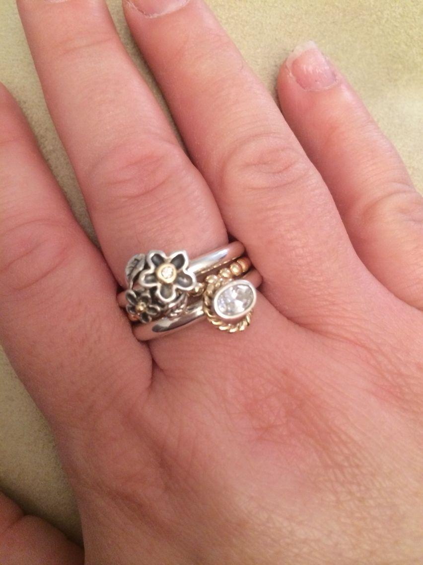 Pandora ring stack sterling silver and 24ct gold | Pandora ...