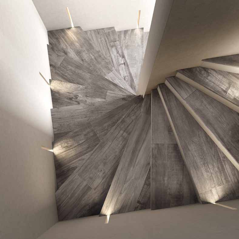 Weathered Wood Look Porcelain Tile Staircase Abk Jpg More