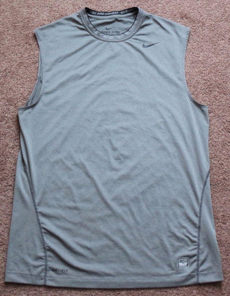 2982bc004d577 Mens NIKE Pro Combat Dri Fit Compression Sleeveless Tank Top Shirt Large  Gray  Nike  ShirtsTops