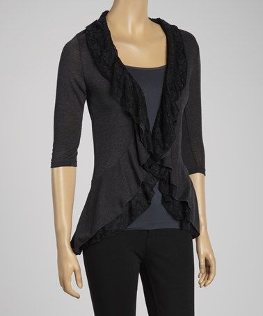 Look what I found on #zulily! Charcoal Ruffle Lace-Trim Open Cardigan #zulilyfinds