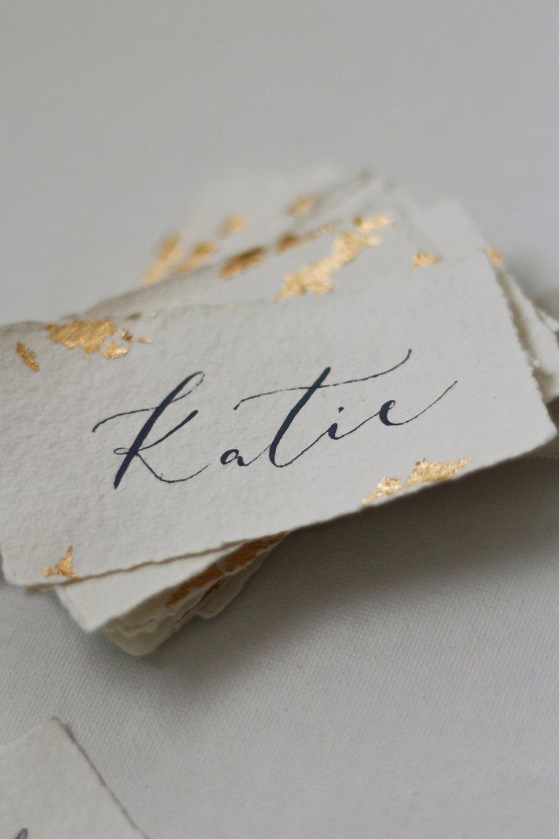 Blush Pink Wedding Name Cards Foiled place cards Calligraphy place settings Gold Foil