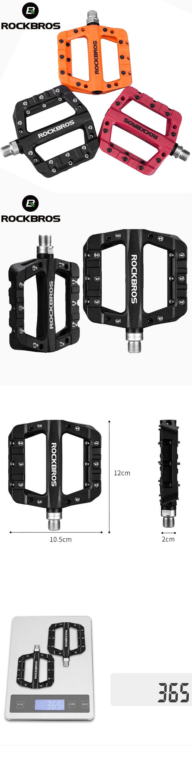 RockBros Mountain Bike Bicycle Bearing Flat Pedals Wide Nylon Pedals a Pair