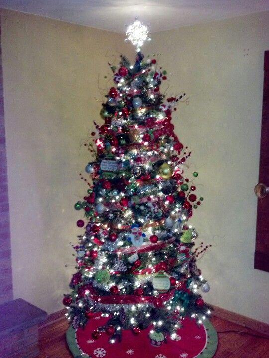 Our Beautiful Christmas Tree Pre-lit tree, ornaments, ribbon