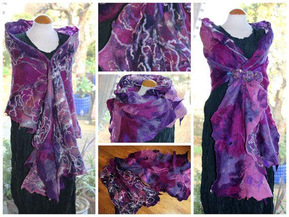 Purple pink grey nuno felted wool & silk Shawl wrap by Angelab5705, £89.00