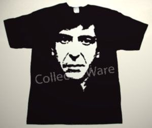 LEONARD COHEN drawing 8 CUSTOM ART UNIQUE T-SHIRT   Each T-shirt is individually hand-painted, a true and unique work of art indeed!  To order this, or design your own custom T-shirt, please contact us at info@collectorware.com, or visit  http://www.collectorware.com/tees-leonard_cohen.htm