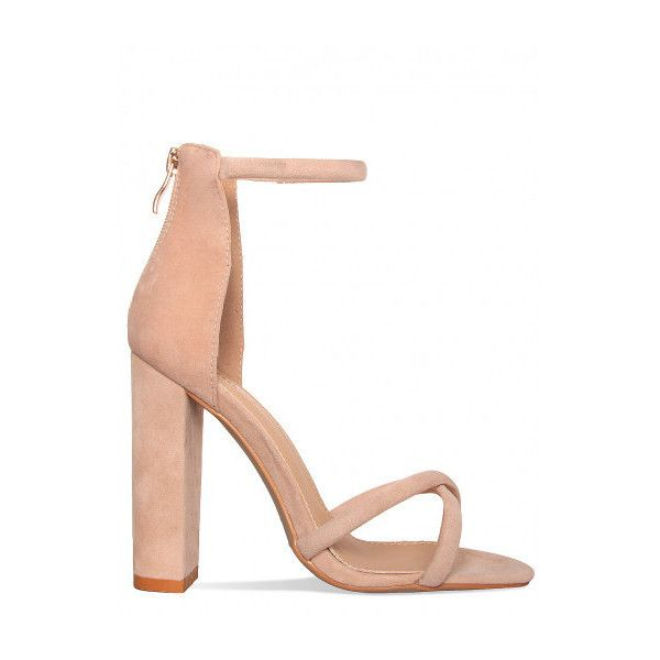 0b667665440f Havana Nude Suede Crossover Strap Block Heels   Simmi Shoes (€34) ❤ liked