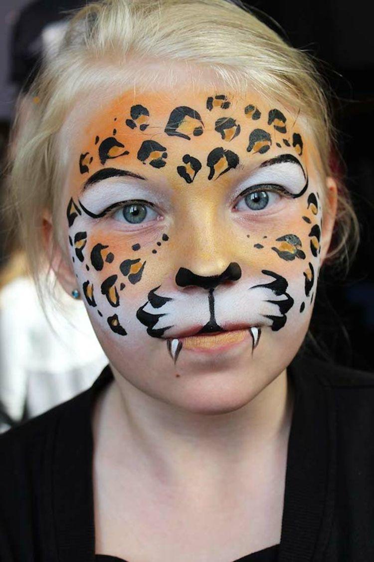 Kinderschminken Fasching Leopard Gesicht Makeup Leopard Fasching