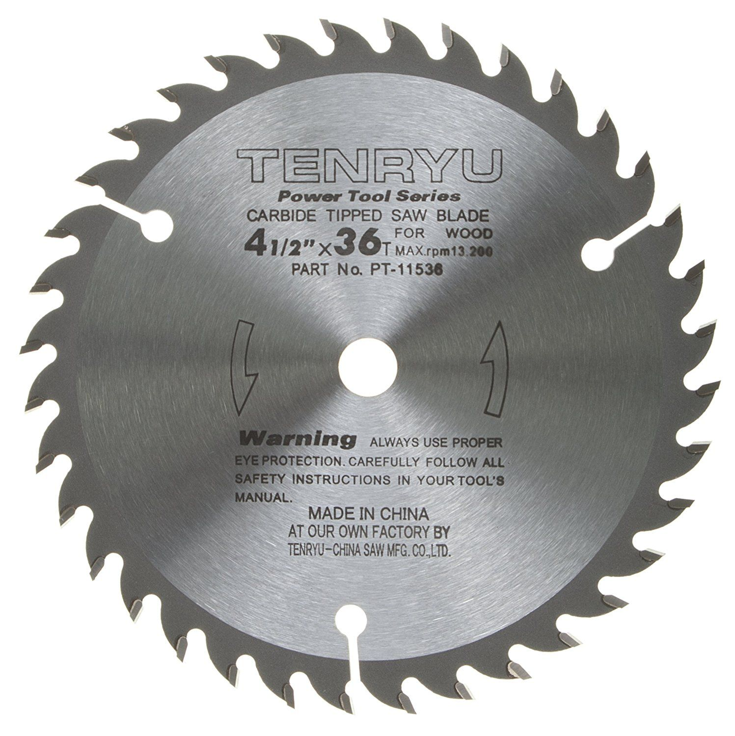 Tenryu Pt 11536 4 1 2 Carbide Tipped Saw Blade 36 Tooth Ataf Grind 3 8 Arbor 0 063 Kerf For More Information With Images Saw Blade Circular Saw Blades Blade
