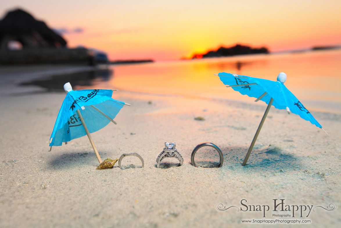 Wedding bands relaxing on the beach in Jamaica