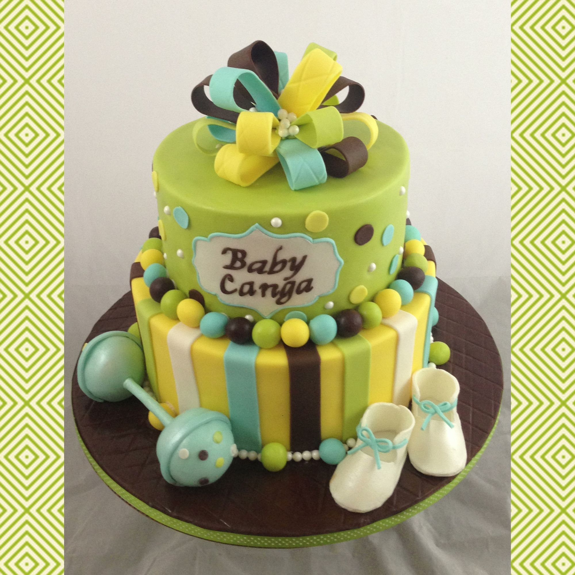 Blue Green Brown Yellow White Baby Shower Cake Shower Ideas