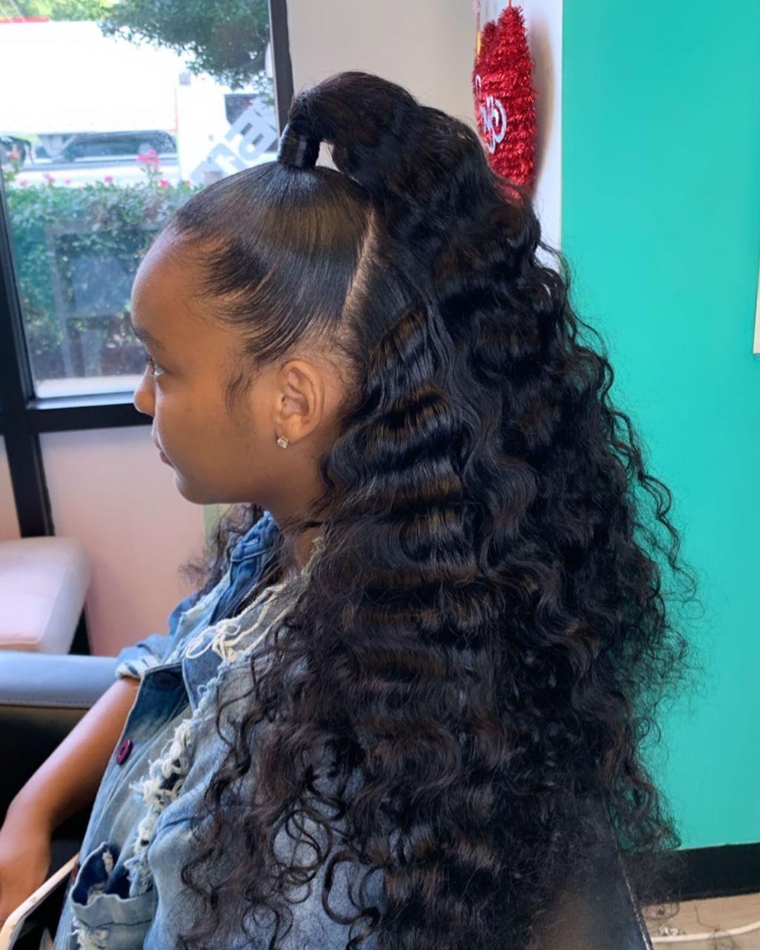 Hair By Jhade On Instagram Summer Trend Half Up Half Down Bob Hairbyjhade Bob Booknow Transitioning Hairstyles Bob Haircut Black Hair Hair Styles
