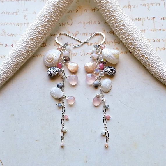 Long Shell Dangle Earrings Pink Grey Dangle Shell Cluster