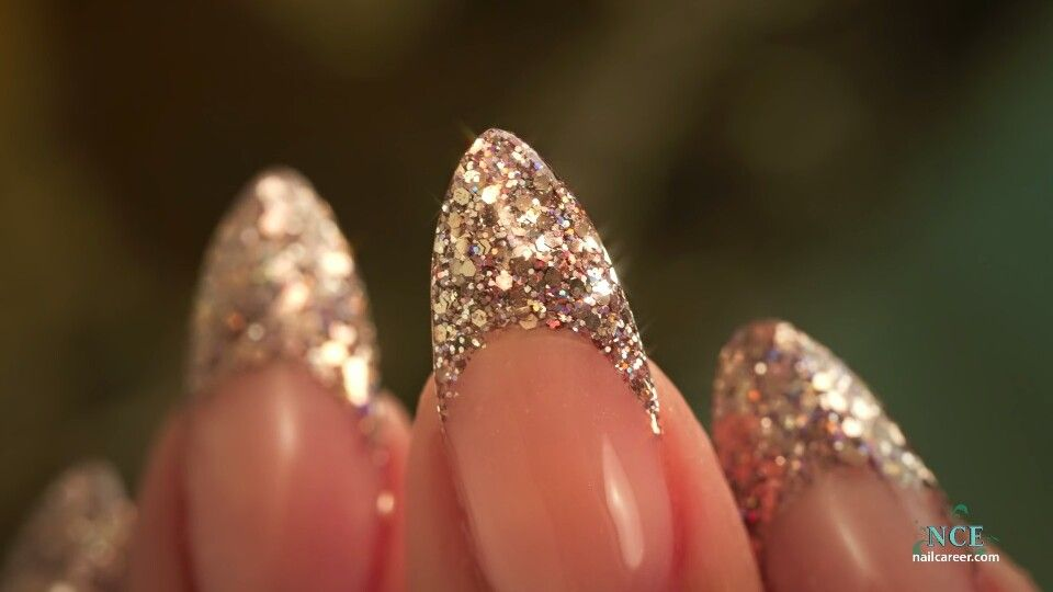 French Almond Glitter by Nail Career Education | Acrylics ...