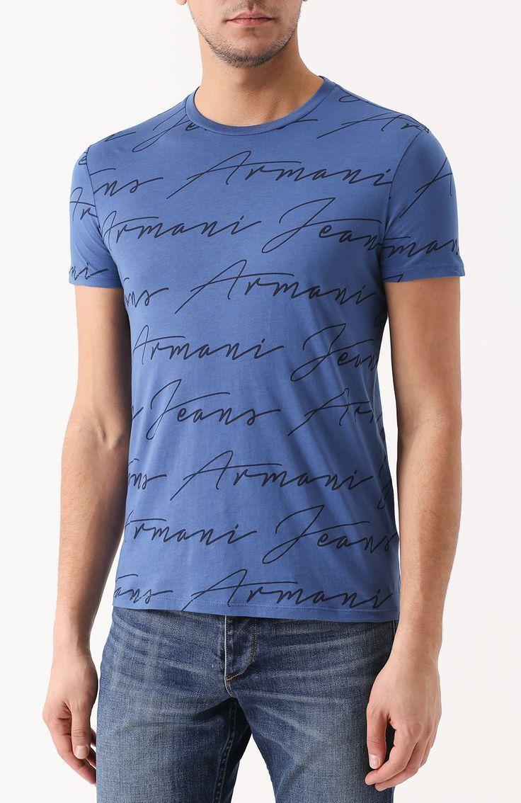 Мужская синяя хлопковая футболка с круглым вырезом Armani Jeans, сезон SS  2017, арт. 2fabcc28de2