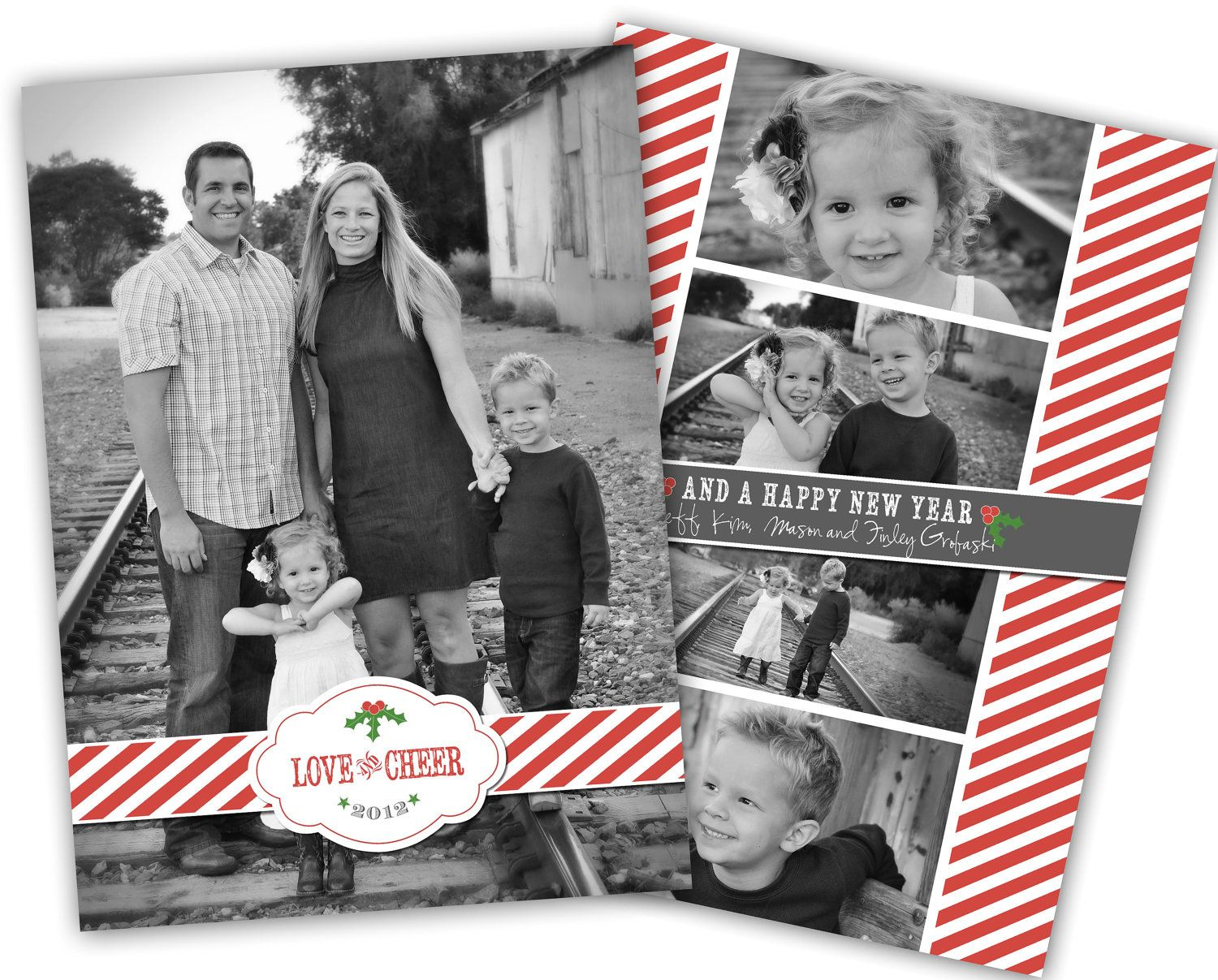 Love and Cheer One Picture Card Design (4x6 or 5x7) - Free Coordinating Backside Design with Card Printing Option through JamesPaigeDesign. $15.00, via Etsy.