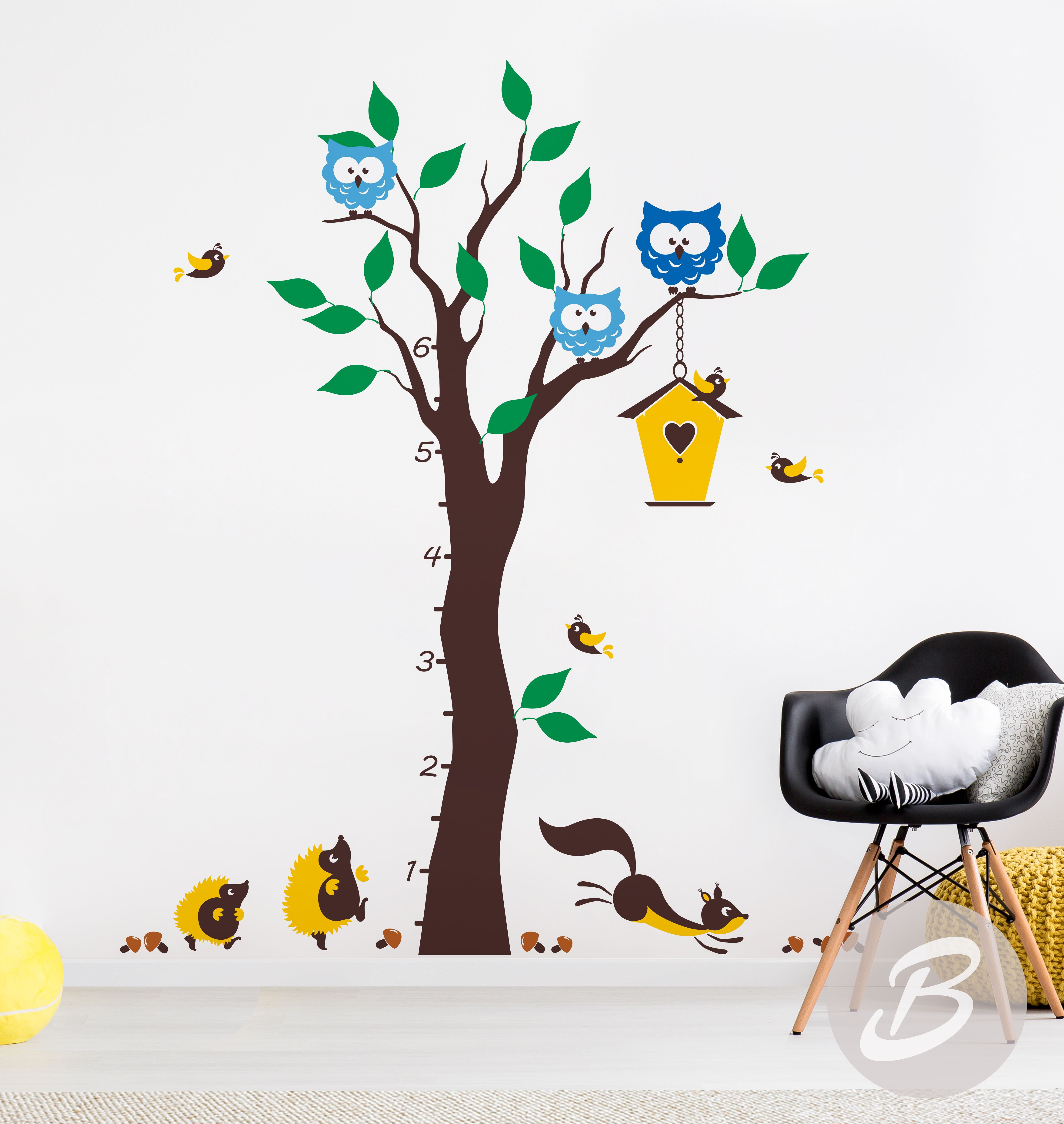 Growth Chart Colorful Tree Wall Decal Wall Decal With Animals - Wall decals birdsbirds couple on branch wall decal beautiful bird vinyl sticker