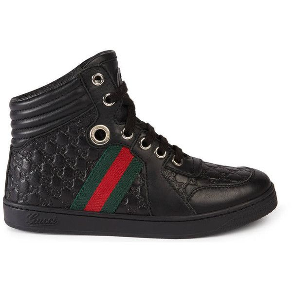 7fac06b9d3 Gucci Children'S Leather Web High-Top ($300) ❤ liked on Polyvore ...