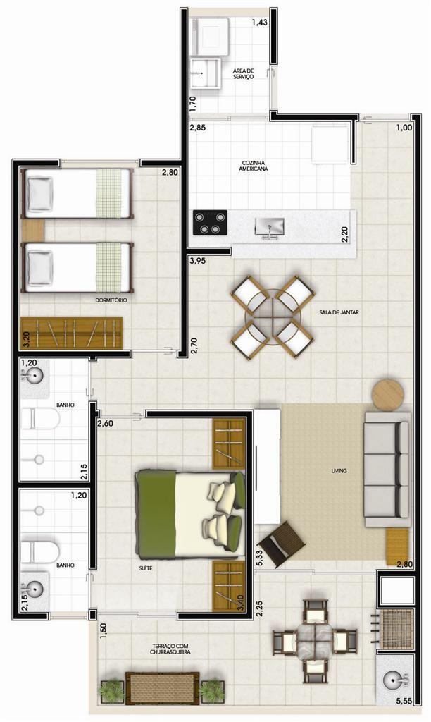 Plantas de apartamentos pequenos 1 neto pinterest for Modelo de departamento pequeno