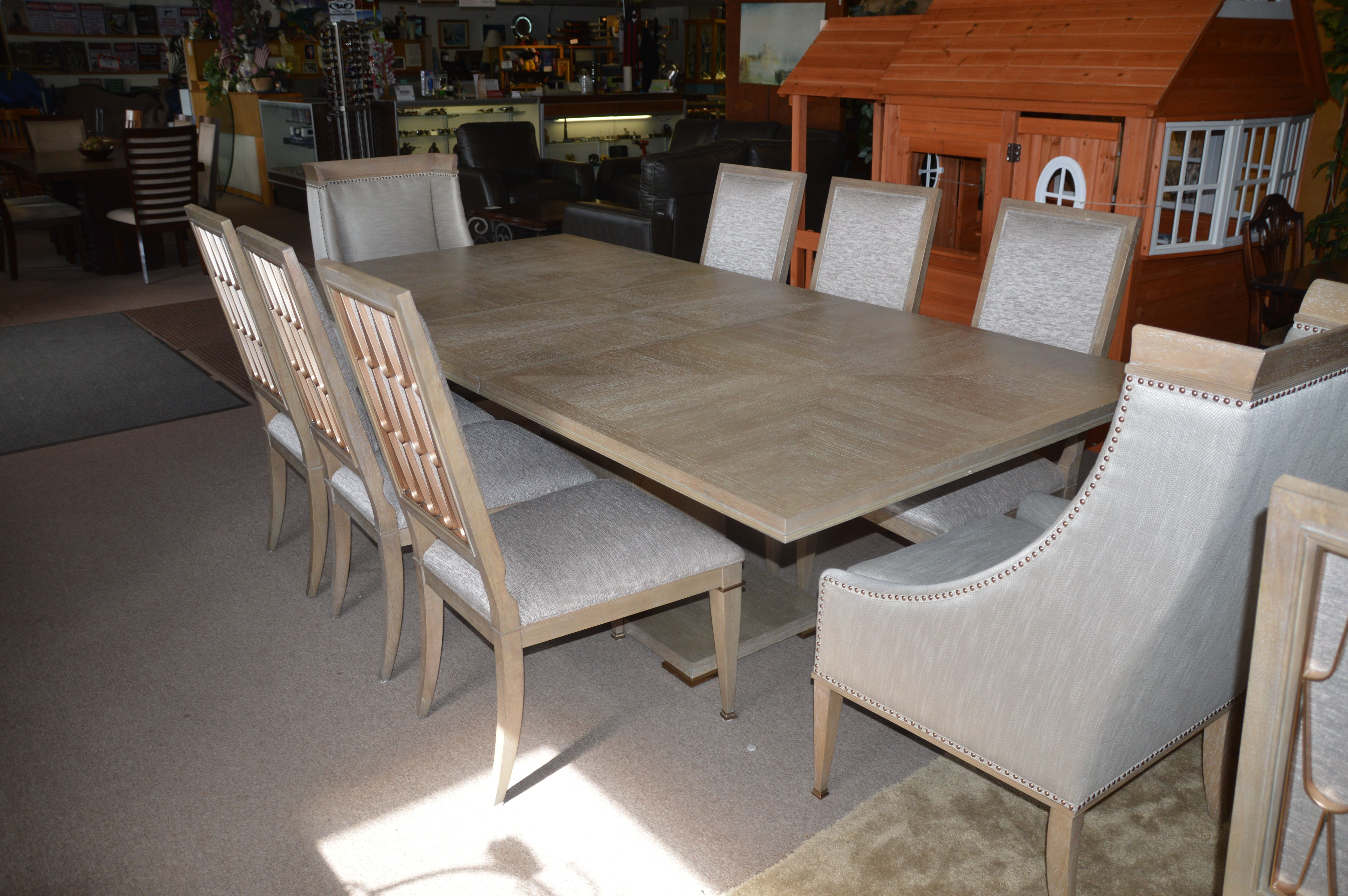 Edinburg 9 Piece Dining Room Set Table Leaf 6 Side Chairs And 2