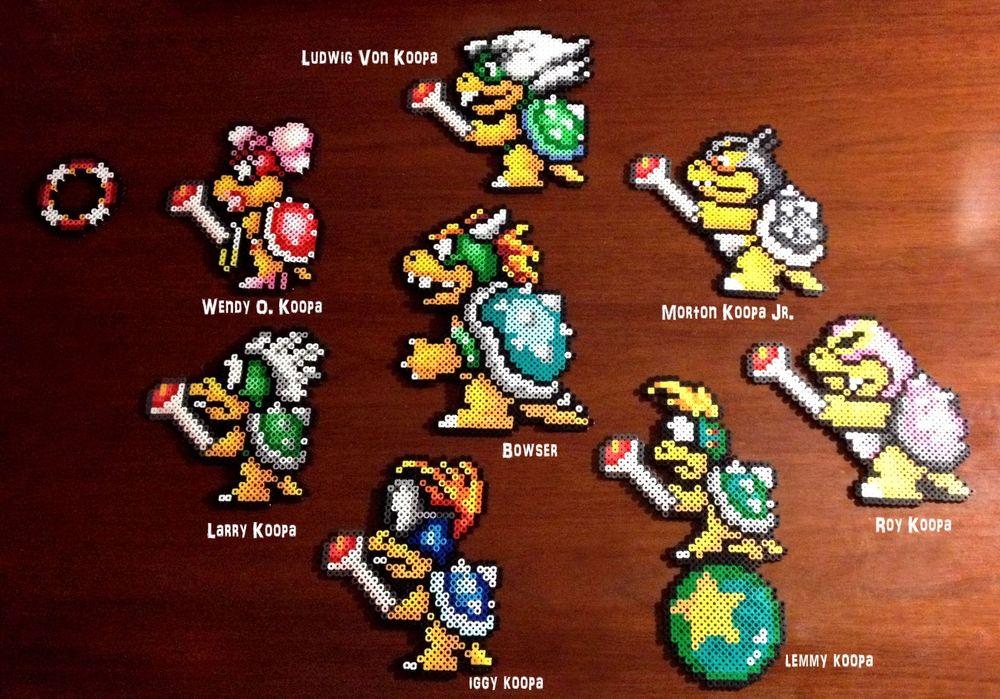 Eb Perler Super Mario Brothers 3 8 Bit Perler Bowser And Koopaling Set Perler Bead Mario Nerdy Perler Beads