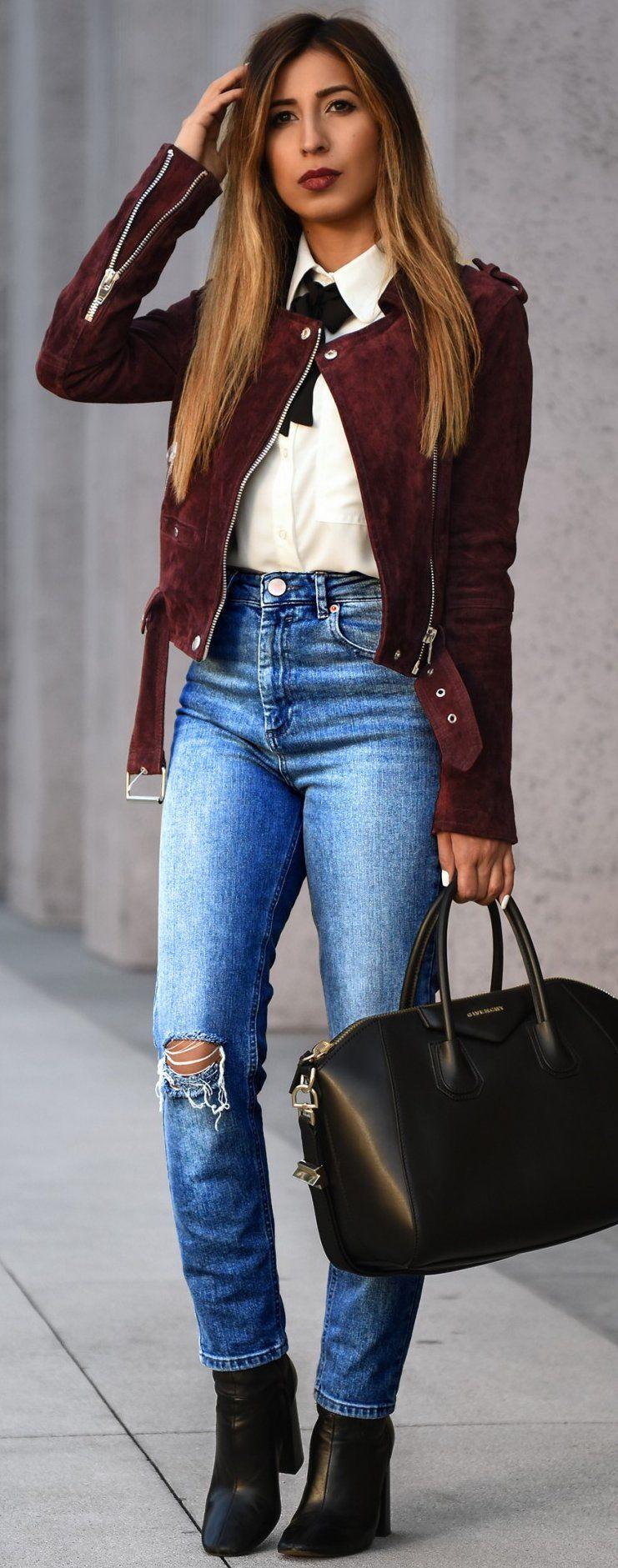 Burgundy Suede + Basics Sourc… Fashion, Autumn fashion