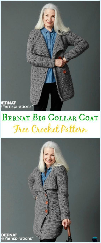 Crochet Big Collar Coat Free Pattern Crochet Women Sweater Coat