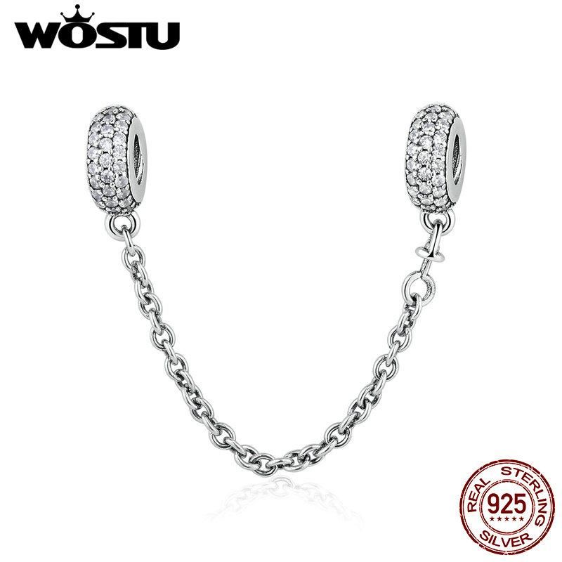 Authentic 925 Silver Pave Inspiration Safety Chain Clear CZ Charm fit Bracelet